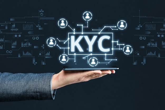 Display digitale astratto con immagine concettuale kyc