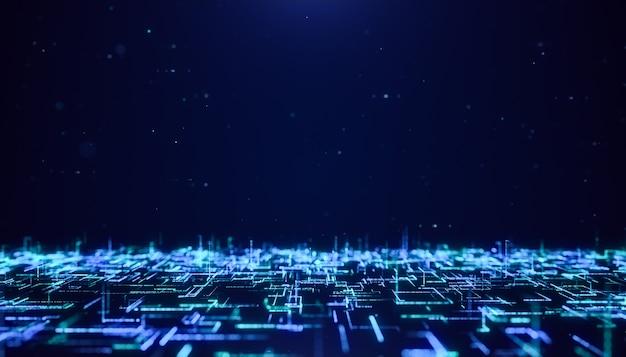 Fondo futuristico digitale astratto del flusso di particelle della matrice, volando attraverso il concetto di tecnologia del cyberspazio della linea di dati grandi al neon d'ardore blu