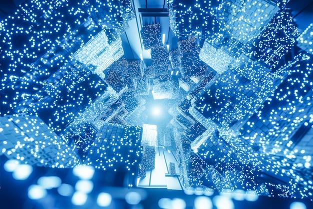 Sfondo astratto digitale futuristico sci-fi, big data, hardware del computer, rete, luce al neon blu, modello 3d e illustrazione