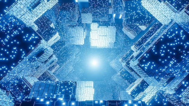 Sfondo astratto digitale futuristico sci-fi, big data, hardware del computer, rete, luce al neon blu, modello 3d e illustrazione.
