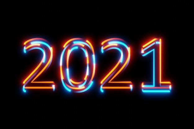 Abstract digitale incandescente futuristico numero 2021 glitter 3d rendering