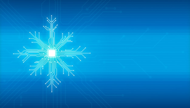 Illustrazione digitale astratta della scheda del microchip sulla forma del fiocco di neve sulla parete blu. immagine del concetto di tecnologia.