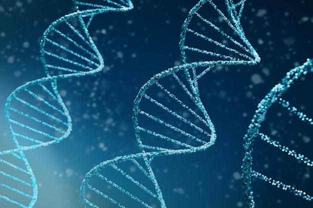 Dna astratto sfondo medico. illustrazione 3d delle molecole di dna blu a doppia elica utilizzate in tecnologia come bioinformatica, ingegneria genetica, profilazione del dna (scienza forense) e nanotecnologia