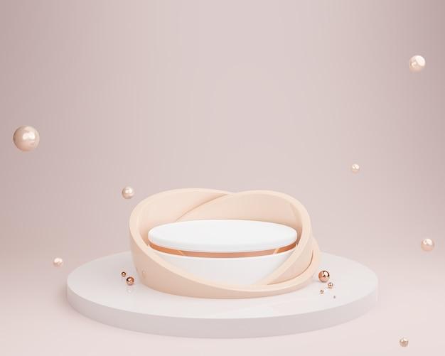 Fondo astratto di colore di tono della terra con podio di forma geometrica, mockup di cosmetici, rendering 3d