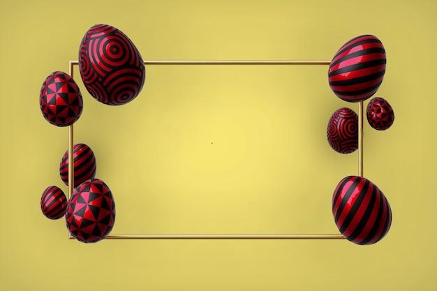 Priorità bassa gialla astratta di pasqua. uova rosse decorative 3d con cornice in oro. rendering 3d.