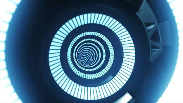 Illustrazione blu infinita futuristica d'ardore futuristica astratta del tunnel 3d