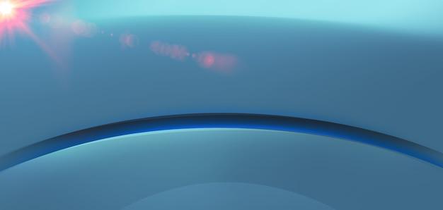 Spazio di studio 3d vuoto astratto con riflesso lente sul lato sinistro