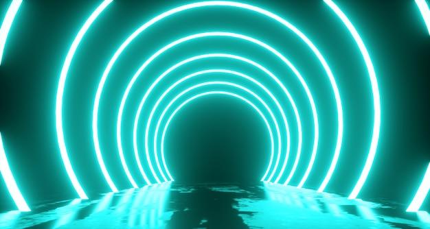 Volo astratto, forma ad anello di luce al neon, misterioso paesaggio spaziale. rendering 3d