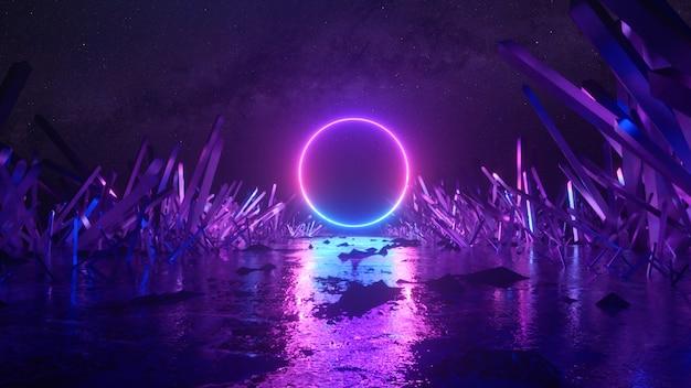 Volo astratto, forma di anello di luce al neon, misterioso paesaggio spaziale, volo in avanti attraverso il corridoio di cristalli