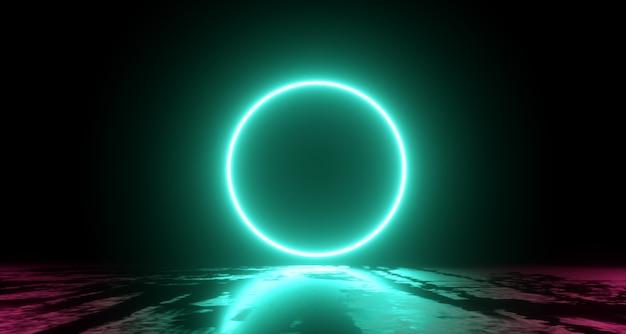 Volo astratto, forma ad anello di luce al neon, misterioso paesaggio spaziale. rendering