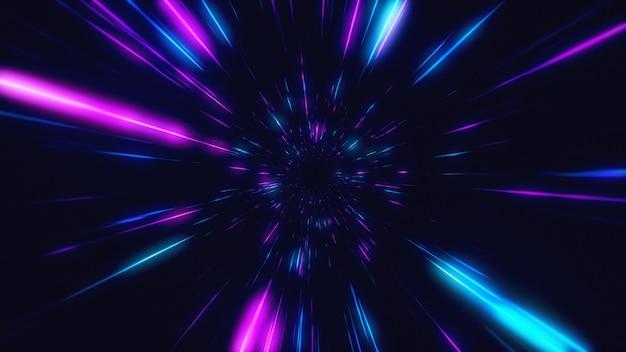 Volo astratto nel retro iper spazio al filo di ordito al neon nell'illustrazione del tunnel 3d