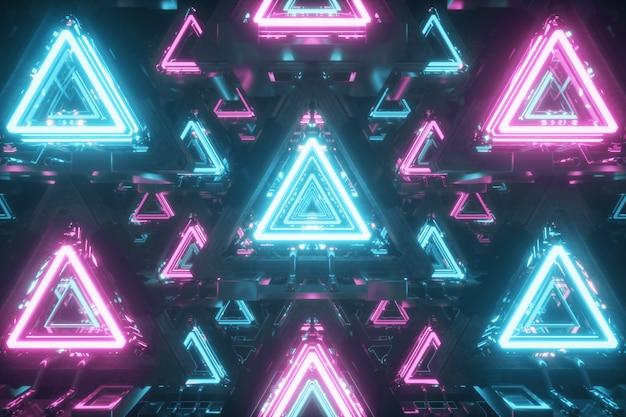 Triangoli galleggianti astratti con luci al neon