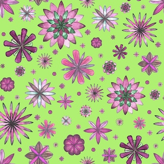 Reticolo senza giunte floreale astratto boho etnico. fiori viola magenta rosa disegnati a mano dell'acquerello su fondo verde erba. carta da parati, involucro, tessile, tessuto