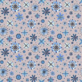 Modello morbido boho etnico senza cuciture floreale astratto. acquerello disegnato a mano teal blu turchese marrone fiori texture su sfondo grigio. carta da parati, involucro, tessile, tessuto