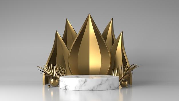 Flusso astratto podio vetrina di posizionamento di prodotti in marmo bianco e oro di lusso