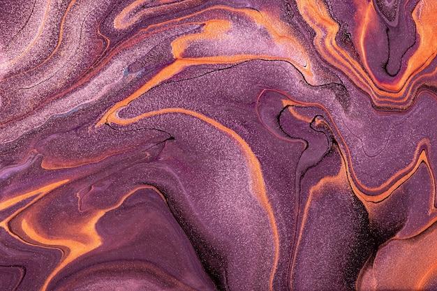 Astratto arte fluida sfondo viola scuro e colori arancioni. marmo liquido