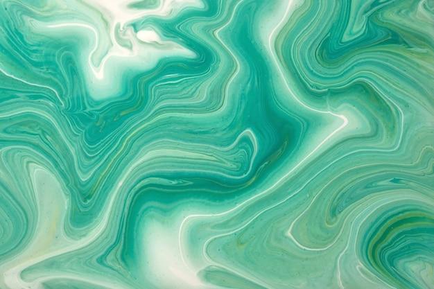 Astratto arte fluida sfondo verde chiaro e colori ciano