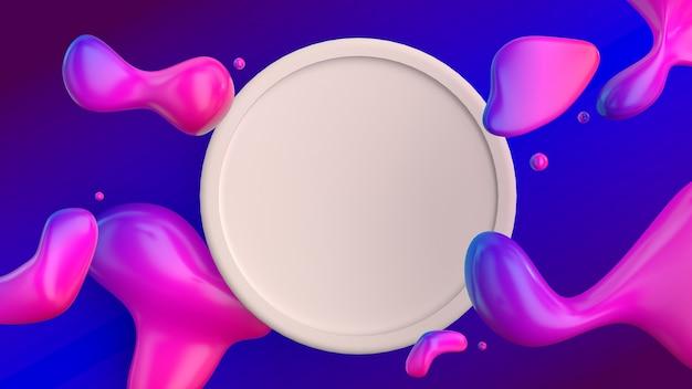 Forme fluide astratte sfondo sfumato di colore con cornice rotonda