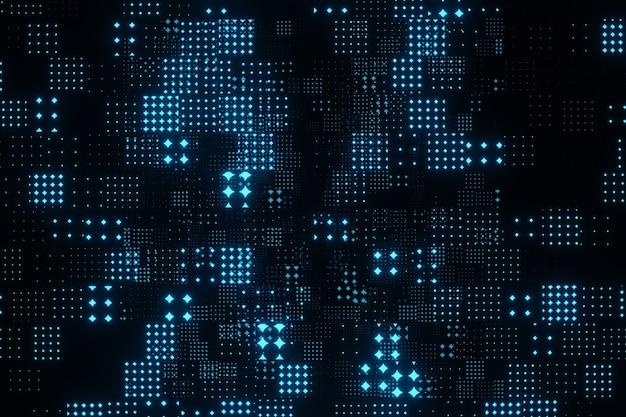 Particelle blu volanti astratte sulla rappresentazione nera del fondo 3d