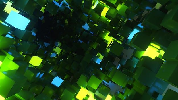 Volo astratto sullo sfondo del corridoio futuristico, luce ultravioletta fluorescente, cubi al neon colorati luminosi, tunnel geometrico infinito, spettro blu verde