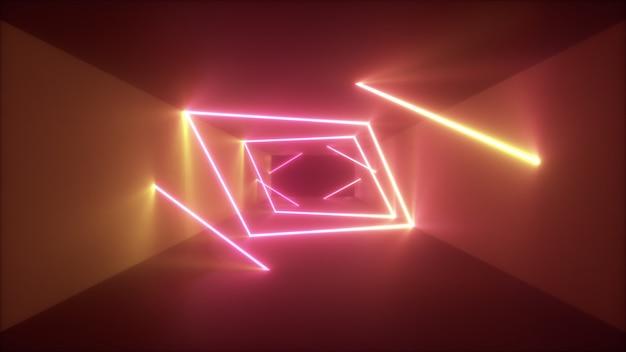 Volo astratto nel fondo futuristico del corridoio