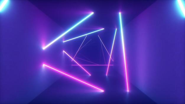 Volo astratto in corridoio futuristico con sfondo di triangoli