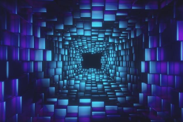 Volo astratto in corridoio futuristico