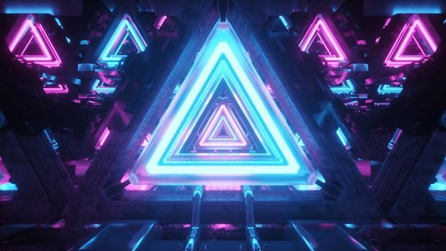 Volo astratto in corridoio futuristico del metallo con i triangoli