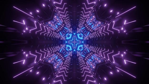 Fondo futuristico astratto interno del tunnel del mondo virtuale con luci al neon geometriche e incandescenti simmetriche
