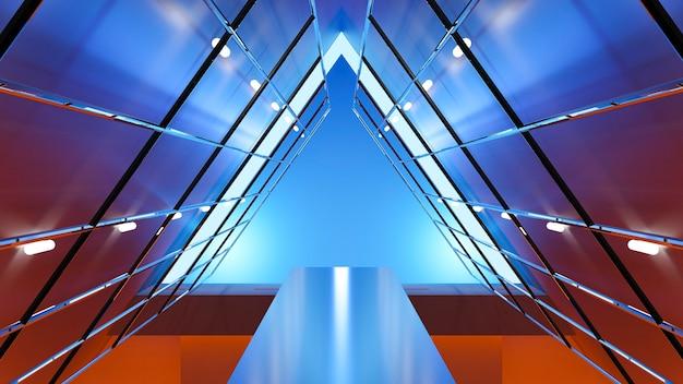 Illuminazione futuristica astratta del triangolo della priorità bassa, rappresentazione 3d