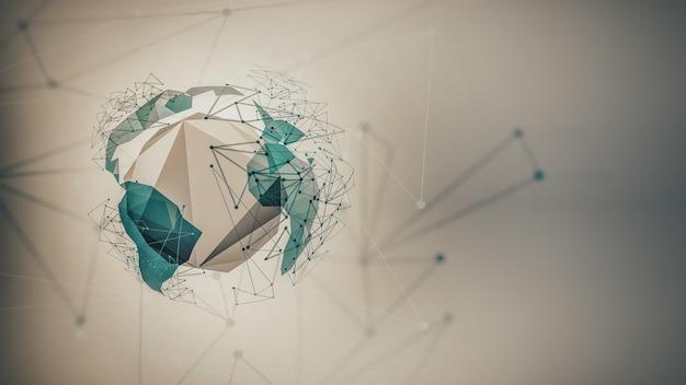 Sfondo futuristico astratto con linee di punti del mondo e forme geometriche astratte d geomet...