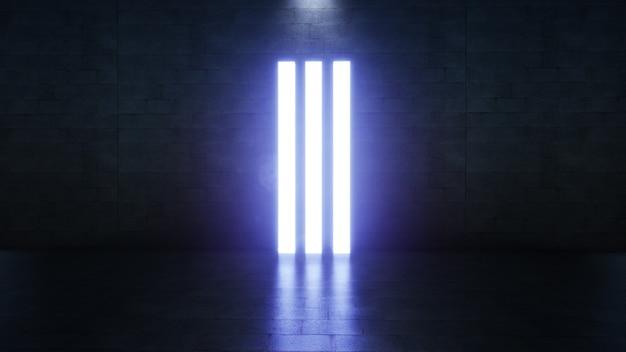 Le colonne rettangolari futuristiche astratte del laser blu si illuminano nel rendering 3d di sfondo vuoto scuro lungo