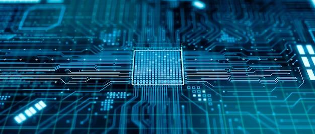 Unità di elaborazione centrale futuristica astratta o microchip all'interno della scheda madre del computer, processore quantum computing moderno rendering 3d, concetto di tecnologia di ingegneria hardware della cpu