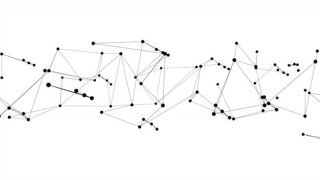 Il cerchio e la linea futuristici astratti del punto strutturano il fondo di bianco di colore del nero della struttura di rete della molecola