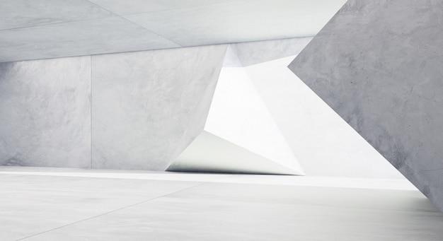 Interno concreto di progettazione del modello geometrico futuristico astratto. rendering 3d.