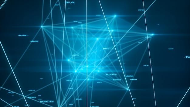 Rete futuristica astratta con i numeri e l'illustrazione dei collegamenti 3d