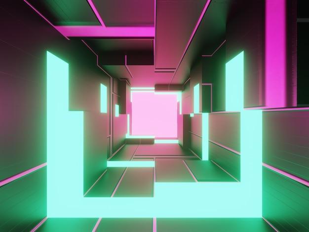 Stanza di tecnologia futuristica astratta con neon verde e rosa