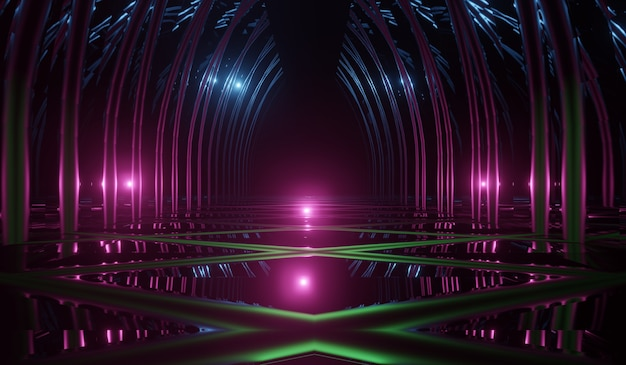 Stanza di tecnologia futuristica astratta con neon retrò