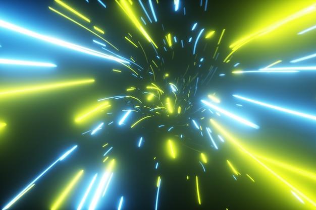 Tunnel futuristico astratto con luci al neon