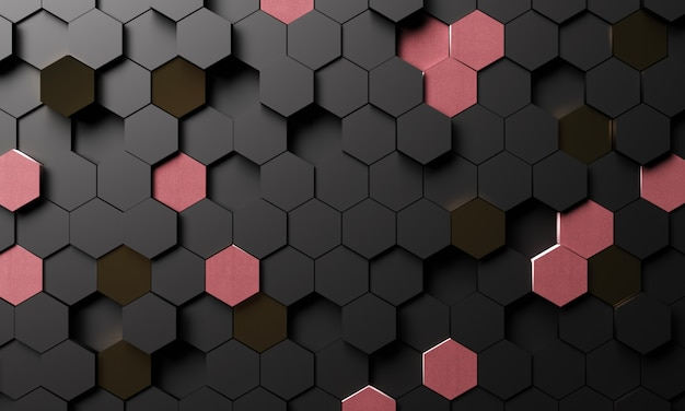 Fondo esagonale geometrico astratto nella rappresentazione 3d