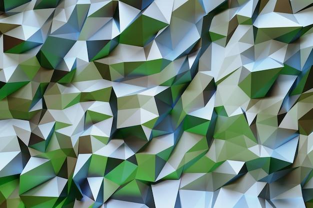 Modello geometrico astratto con triangoli tridimensionali verdi e bianchi.