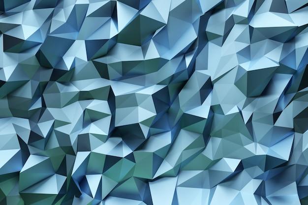 Modello geometrico astratto con triangoli tridimensionali celesti.