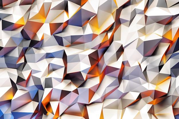 Modello geometrico astratto con triangoli tridimensionali viola, gialli e bianchi.