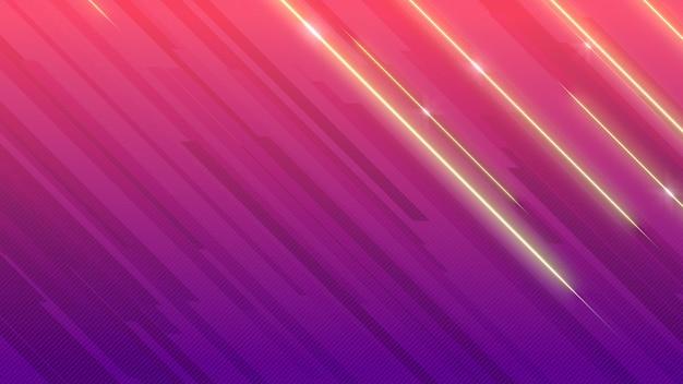 Linee di lucentezza viola geometriche astratte, sfondo retrò. stile di illustrazione 3d elegante e di lusso per modello aziendale e aziendale