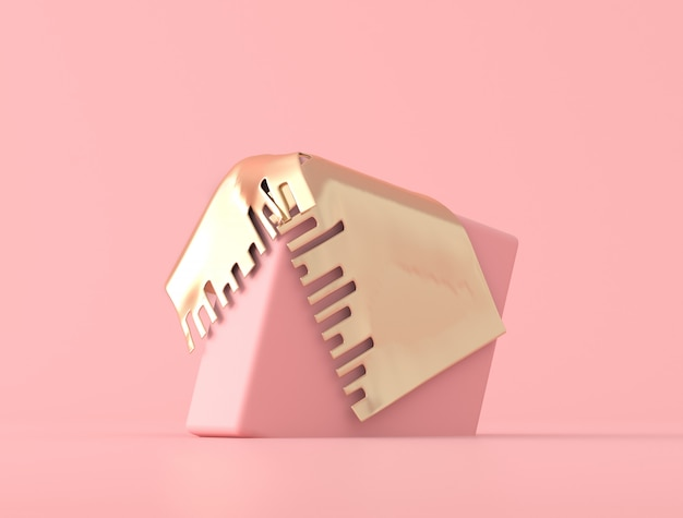 Forma geometrica astratta coperta di oggetto dell'oro su fondo rosa, colori pastelli, stile minimo, rappresentazione 3d