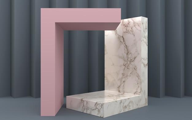 Gruppo di forme geometriche astratte impostato, sfondo grigio, portale geometrico, piedistallo in marmo, rendering 3d, scena con forme geometriche, carta a forma di zig-zag