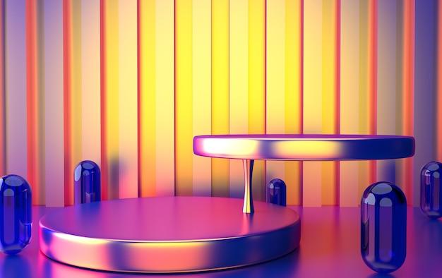 Insieme di gruppi di forme geometriche astratte, sfondo astratto minimo, rendering 3d, colore sfumato, scena con forme geometriche