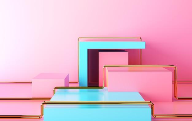 Gruppo di forme geometriche astratte impostato, sfondo astratto minimo, rendering 3d, scena con forme geometriche