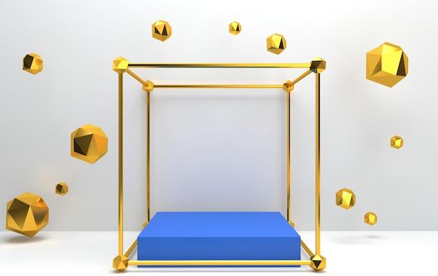 Insieme del gruppo di forma geometrica astratta, sfondo bianco, gabbia dorata, rendering 3d, piedistallo rettangolare all'interno del tetraedro dorato