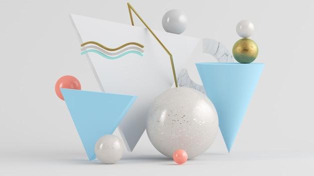 Forme geometriche astratte sfondo rendering 3d